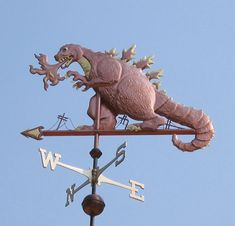 Godzilla Weathervane by West Coast Weather Vanes. In this Godzilla weathervane… West Coast Weather, Cartoon Meme, Weather Vanes, 3d Prints, Reno, King Kong, T Rex, Mythology, Horror