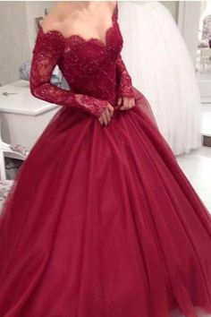 Burgundy Wedding dresses 2017 Off the Shoulder Ball Gown Lace Tulle Long Sleeve Bridal Gowns Custom SIze Wedding Gown