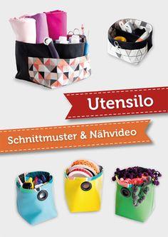 DIY fabric basket with divider sewing tutorial and free pattern by pattydoo | Nähvideo & kostenloses Schnittmuster für ein Stoffutensilo mit Trennwand