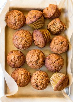 Morning Glory Muffins are like carrot cake for breakfast! They are made with shredded carrots, apples, raisins, and whole wheat flour. #muffins #carrotcake #apples #carrots #wholewheatflour