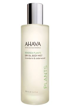 NEW! AHAVA Dry Oil Body Mist available at #Nordstrom $38.50 A spray-on dry oil that blends light, nourishing oils with anti-aging Dunaliella algae and the Osmoter™ complex for a hydrating feel that leaves skin soft and glowing. The uplifting scent of mandarin and cedarwood rejuvenates the senses as it provides a skin-friendly boost of vitamins and minerals.