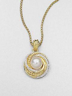 David Yurman Pearl, Diamond & 18K Gold Pendant Necklace
