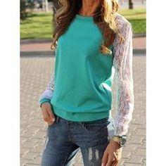 Sweet Round Neck Lace Splicing Long Sleeve Sweatshirt For Women