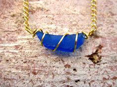 Wire Wrapped Blue Sea Glass Stone Necklace // by hardlyExpected
