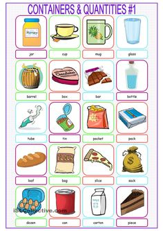 Containers & Quantities Picture Dictionary#1