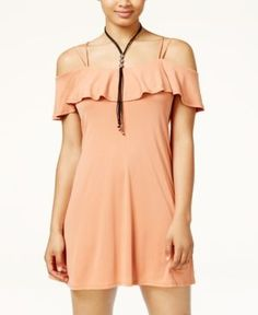 American Rag Juniors' Ruffled Cold-Shoulder Dress, Only at Macy's - Orange XS