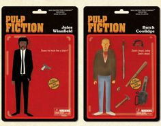 """illustrations of a pulp fiction action figures collection by maxim dalton, illustrated for the art show """"quentin vs. coen"""" in new york. Zeds Dead, Pulp Fiction Art, Material World, New York, Cinema Posters, Illustration Artists, Illustrations, Geek Art, Quentin Tarantino"""