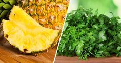 Pineapple juice and parsley: recipe to cure anemia Better juices to cure anemia The citrus juices and dark green leafy vegetables are . Citrus Juice, Pineapple Juice, Parsley Recipes, Natural Life, Natural Remedies, Smoothie, The Cure, Low Carb, Vegan