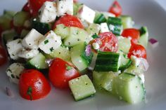 Simple Tomato & Cucumber Salad (I would make with mozzarella cheese since I don't like Feta)