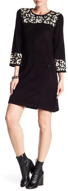 Eliza J Leopard Accent Knit Dress