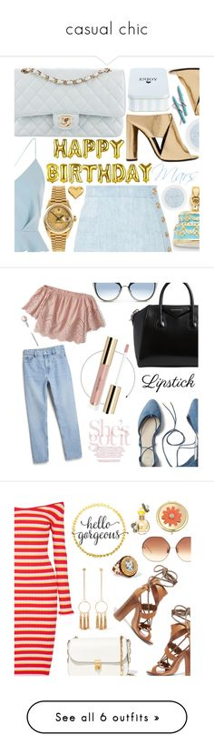 """""""casual chic"""" by kimberly-deneice-williams ❤ liked on Polyvore featuring River Island, Tom Ford, Chanel, Balmain, Rolex, Kevin Jewelers, Givenchy, Karl Lagerfeld, Gap and Monki"""