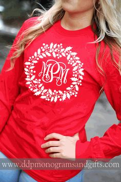 PERSONALIZED FULL FRONT HOLLY WREATH LONG SLEEVE SHIRT