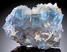Cubes of blue Fluorite with Calcite crystals Annabel Lee Mine, Illinois