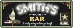 Military Bar Personalized Sign with Military Branch Seal, Beret & Neon Lights Font