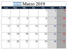 Calendario Marzo 2019 Argentina Accounting, Bar Chart, Periodic Table, Spanish, Calendar, Argentina, Summer Time, Holiday, Periodic Table Chart