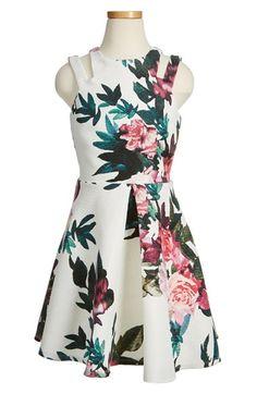Miss Behave 'Adriann' Floral Jacquard Fit & Flare Dress (Big Girls)