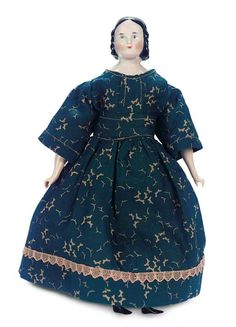 """Theriault's Antique Doll Auctions - Petite German Porcelain Doll with Finger Curls 8"""" - Germany circa 1860"""