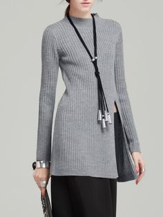 #AdoreWe VC Light Gray Solid Wool Blend Knitted Long Sleeve Sweater - AdoreWe.com