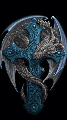 Celtic cross dragon by Anne Stokes . *Instead of cross, the dragon is protecting a little girl (representation of me) tattoo* Dragons, Anne Stokes, Dragon's Lair, Dragon Artwork, Dragon Tattoo Designs, Dragon Tattoo Drawing, Celtic Dragon Tattoos, Tattoo Celtic, Dragon Pictures
