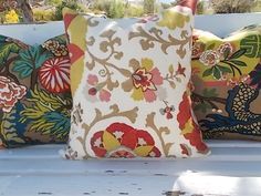 Suzani Medallion pillow cover rust brown yellow slate blue on off white linen blend. $25.00, via Etsy.