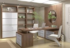 Modern office wood cabinets ultra modern home office decor ideas presenting white chair also brown wooden office table connected to brown wall paneling plus Office Table, Home Office Desks, Office Decor, Office Ideas, Ikea Office, Rustic Office, Zen Home Office, Decorating Office, Office Setup