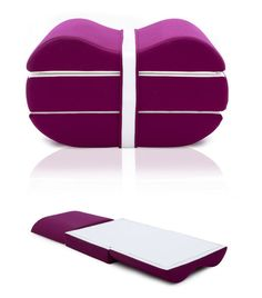 I love multipurpose furniture. This one serves as an ottoman and unfolds into a bed. Looks comfortable too.