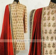 Pinterest: @pawank90 Mens Indian Wear, Mens Ethnic Wear, Indian Groom Wear, Indian Men Fashion, Indian Man, India Fashion, Mens Fashion, Sherwani Groom, Wedding Sherwani