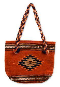 Zapotec wool shoulder bag, 'Ojo de Dios' - Zapotec wool shoulder bag