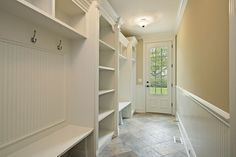 Mudroom Design:Like the deep shelves in middle. How do I keep all the shoes out of the walkway area though?