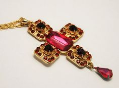 Vintage cross necklace. Pink cross pendant. by chicvintageboutique