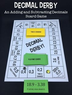Decimal Derby is a math game that helps students practice adding decimals and subtracting decimals. In the board game, students must answer decimal problems to move their piece around the board. First player to reach the space wins! Math Board Games, Math Boards, Bulletin Boards, Fifth Grade Math, 5th Grade Math Games, Sixth Grade, Second Grade, Math Fractions, Dividing Fractions