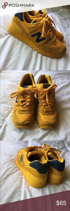 save off 8c7f7 0e684 Golden Yellow 574 new balances Yellow, purply green accents, like new New  Balance Shoes