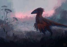 Raptor dionosaur on the ground, on the hunt.