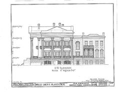 Down River side of Belle Grove, drawing from the Historic American Building Survey