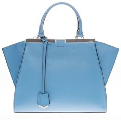 Fendi Trois-Jour Petite Bicolor Shopper ($1,800) ❤ liked on Polyvore featuring bags, handbags, tote bags, fendi shopper, blue shopping bag, shopping tote, blue tote bag and blue handbags