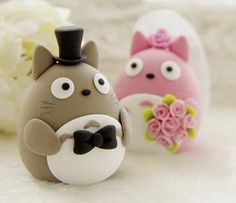 DIY Cake Topper in Polymer Clay, have questions : wedding cake cake topper decor diy reception wedding Totoro Topper