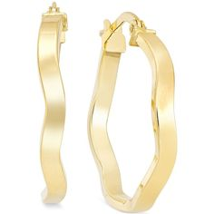 Wave Hoop Earrings in 10k Gold ($350) ❤ liked on Polyvore featuring jewelry, earrings, yellow gold, gold jewelry, yellow gold earrings, polishing gold jewelry, gold hoop earrings and yellow gold hoop earrings