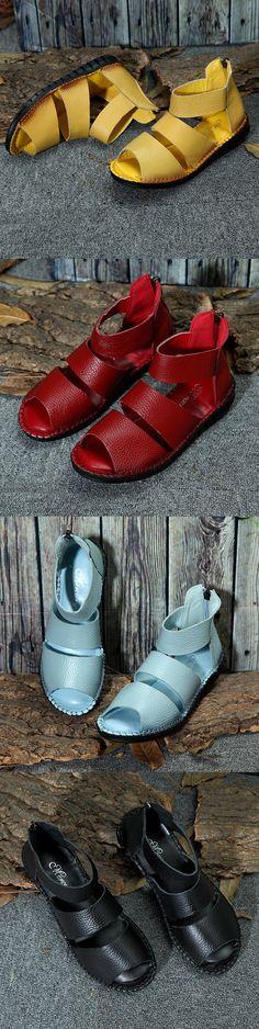 SOCOFY Leather Pure Color Original Peep Toe Zipper Flat Sandals