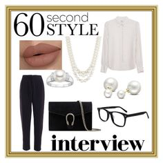 """Late for My Interview!"" by absolutely-mia on Polyvore featuring Frame Denim, Anne Klein, Allurez, Gucci, jobinterview and 60secondstyle"