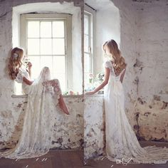 2015 Backless Lace Bohemian Boho Wedding Dresses V Neck Cap Sleeves Sweep Train Spring Beach Bridal Gowns Wedding Gown Rental Ball Dresses Online From Love_bridal, $105.53| Dhgate.Com