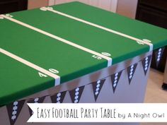 Make your kitchen island or dinner table into a fun, easy football party table. #superbowl #diy #crafts (from @A Night Owl Blog)