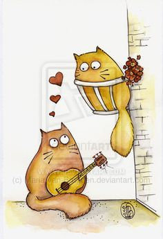 Valentine meows by ~Maria-van-Bruggen on deviantART
