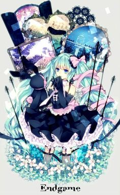 A very detailed and Alice in wonderland type Hatsune Miku. My kind of art!