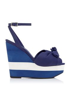 Charlotte Olympia Navy Blue & White Wedge Sandal Spring 2014 #Shoes #Wedges