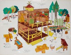 Rare!! ORIGINAL 1975 SUNSHINE FAMILY FARM BARN HOUSE CONCEPT ART! Vintage Dolls