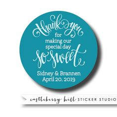 Thank you stickers personalized stickers sweet by CastleberryHill