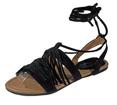 7c4a04bbed5d2c Charles Albert Womens Tie Up The Leg Fringe Gladiator Ghille Sandal black 8