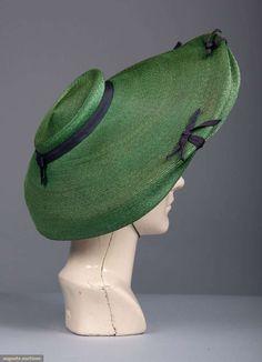 Hat, straw and silk, Jordan Marsh label, American, 1940s Fashion, Vintage Fashion, Fashion Top, Edwardian Fashion, Emo Fashion, Vintage Purses, Vintage Hats, 1940s Hats, Jeweled Shoes