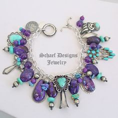 Schaef Designs amethyst, turquoise & sterling silver Southwestern Charm Bracelet | New Mexico