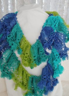 Blue scarf Turquoise Aqua Hand knit scarf by KnitWithPleasure